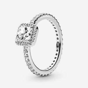 Authentic PANDORA Square Sparkle Halo Ring